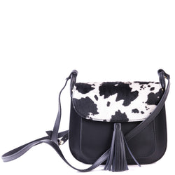 Black Leather and Cow Hair  Saddle Cross Body Tassel Bag