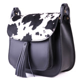 Black Leather and Cow Hair Saddle Cross Body Tassel Bag - Side - Amilu