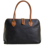 Black and Tan Real Leather Shoulder Tote Bag