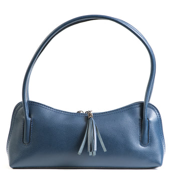 Navy Real Leather Shoulder Bag