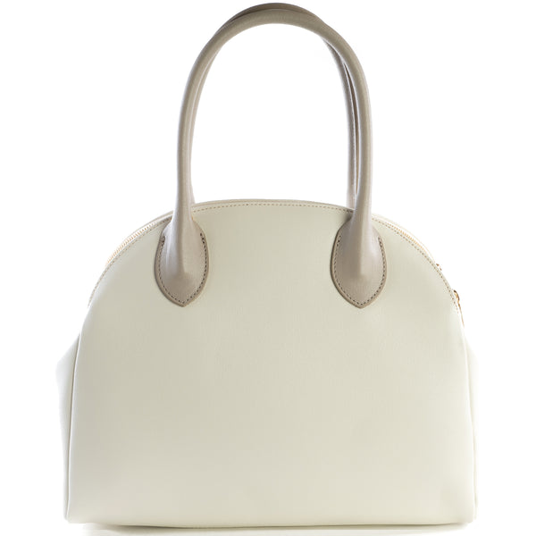 Cream and Taupe Real Leather Double Zip Tote Bag - Amilu