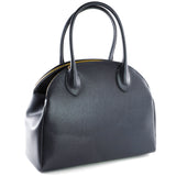 Navy Real Leather Double Zip Tote Bag - Side - Amilu