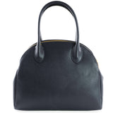 Navy Real Leather Double Zip Tote Bag - Amilu