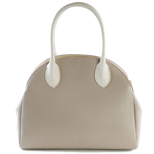 Taupe and Cream Real Leather Double Zip Tote Bag - Amilu