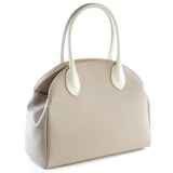 Taupe and Cream Real Leather Double Zip Tote Bag - Side - Amilu