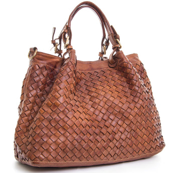 Classic Tan Real Italian Leather Weave Tote Bag