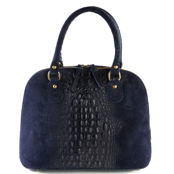 Navy Blue Suede Real Leather Grab Handle Tote Handbag - Amilu
