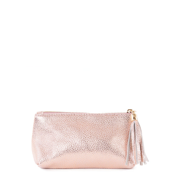 Rose Gold Real Leather Cosmetic Bag - Amilu