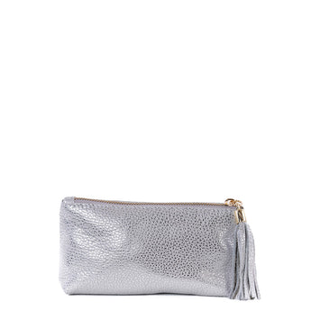 Silver Real Leather Cosmetic Bag - Amilu
