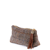 Tan Harris Tweed Cosmetic Bag - Amilu
