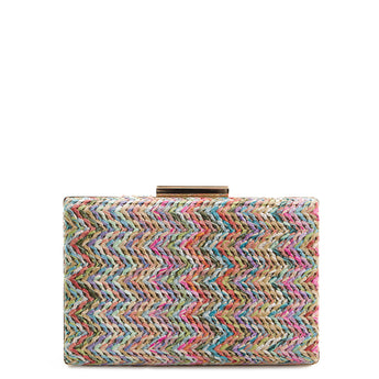Pink Multi Braided Straw Box Clutch Bag - Amilu