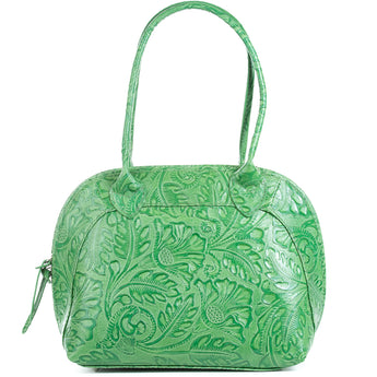 Florens Emerald Green Real Leather Shoulder Tote Bag
