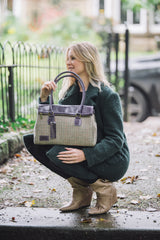 Yorkshire Tweed Purple Real Leather Tote Bag