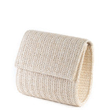 Light Taupe Fold Over Weave Clutch Bag - Side - Amilu
