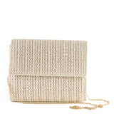 Light Taupe Fold Over Weave Clutch Bag - Chain Strap - Amilu
