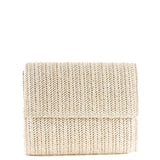 Light Taupe Fold Over Weave Clutch Bag - Amilu