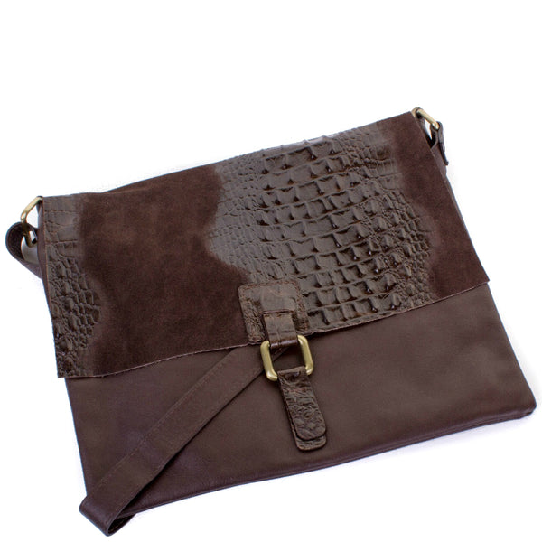 Chocolate Brown Real Leather Cross Body Bag - Amilu Handbags