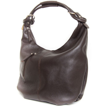 Chocolate Brown Real Leather Hobo Slouch Bag