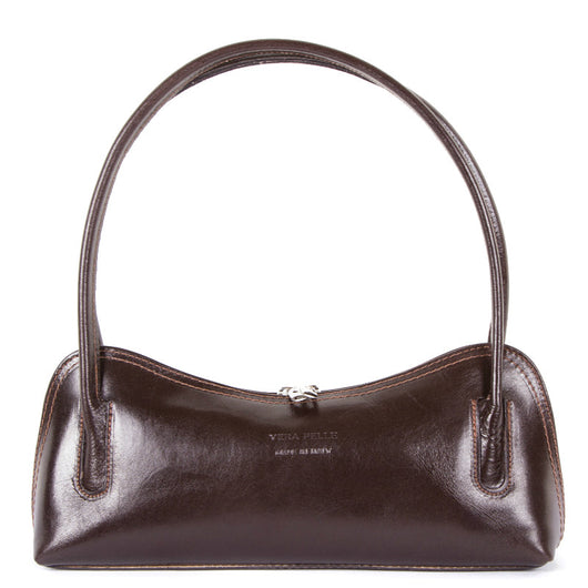 Chocolate Brown Real Leather Shoulder Bag