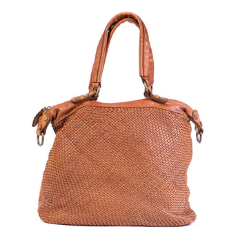 Classic Tan Real Italian Washed Leather Medium Weave Tote Bag