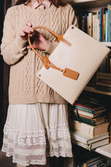 Cream and Tan Real Ruga Leather Grab Tote Bag - Amilu