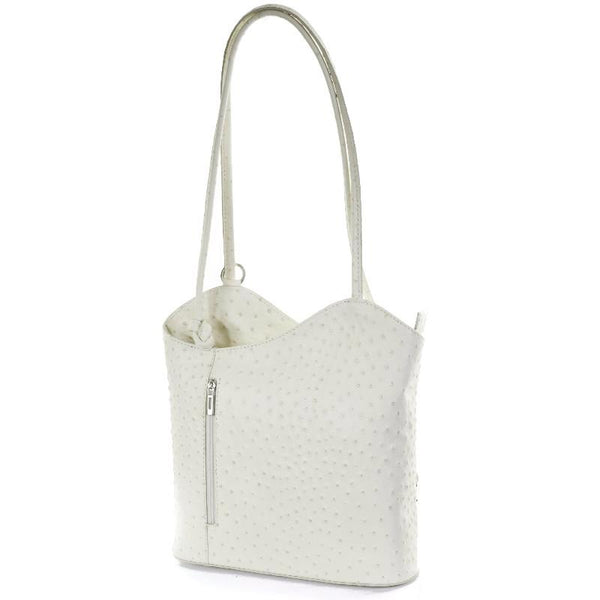 Cream Real Leather Shoulder Backpack Bag
