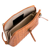Tan Croc Print Real Leather Cross Body Bag