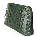 Dark Green Croc Print Real Leather Cross Body Bag - Amilu Handbags - Autumn Collection