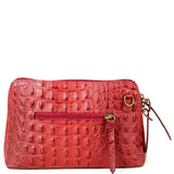 Dark Red Croc Print Real Leather Cross Body Bag Back - Amilu Handbags
