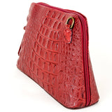 Dark Red Croc Print Real Leather Cross Body Bag Side - Amilu Handbags