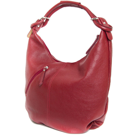 Dark Red Real Leather Hobo Slouch Bag