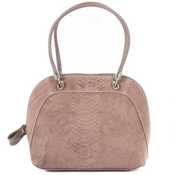 Taupe Real Leather Shoulder Tote Bag