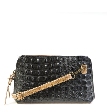 Black / Taupe Croc Print Real Leather Cross Body Bag