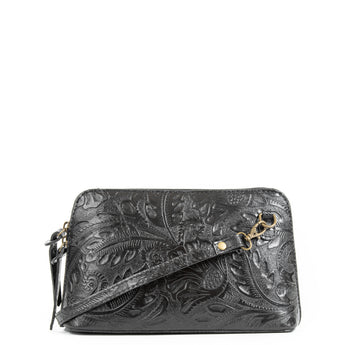 Black Florens Real Leather Cross Body Bag