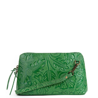 Emerald Green Florens Real Leather Cross Body Bag