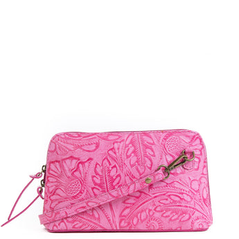 Magenta Pink Florens Real Leather Cross Body Bag