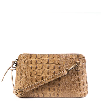 Taupe Croc Print Real Leather Cross Body Bag