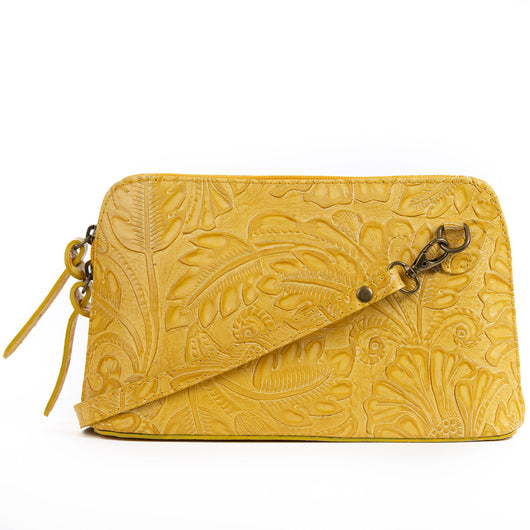 Yellow Florens Real Leather Cross Body Bag