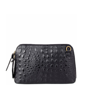 Black Croc Print Real Leather Cross Body Bag