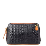 Black & Tan Croc Print Real Leather Cross Body Bag