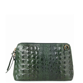 Dark Green Croc Print Real Leather Cross Body Bag