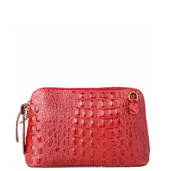 Dark Red Croc Print Real Leather Cross Body Bag