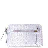 Light Grey Croc Print Real Leather Cross Body Bag - Back - Amilu