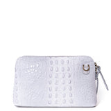 Light Grey Croc Print Real Leather Cross Body Bag - Amilu