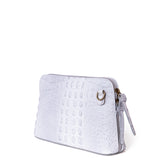 Light Grey Croc Print Real Leather Cross Body Bag - Side - Back