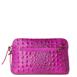 Magenta Pink Croc Print Real Leather Cross Body Bag
