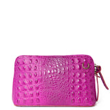 Magenta Pink Croc Print Real Leather Cross Body Bag - Amilu