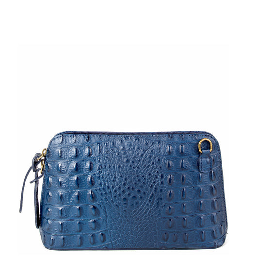 Navy Blue Croc Print Real Leather Cross Body Bag
