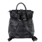 Black Real Leather Tassel Backpack - Back - Amilu