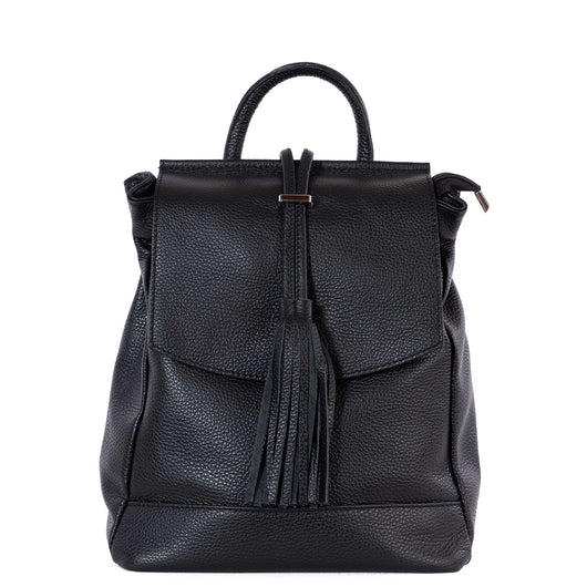Black Real Leather Tassel Backpack - Amilu